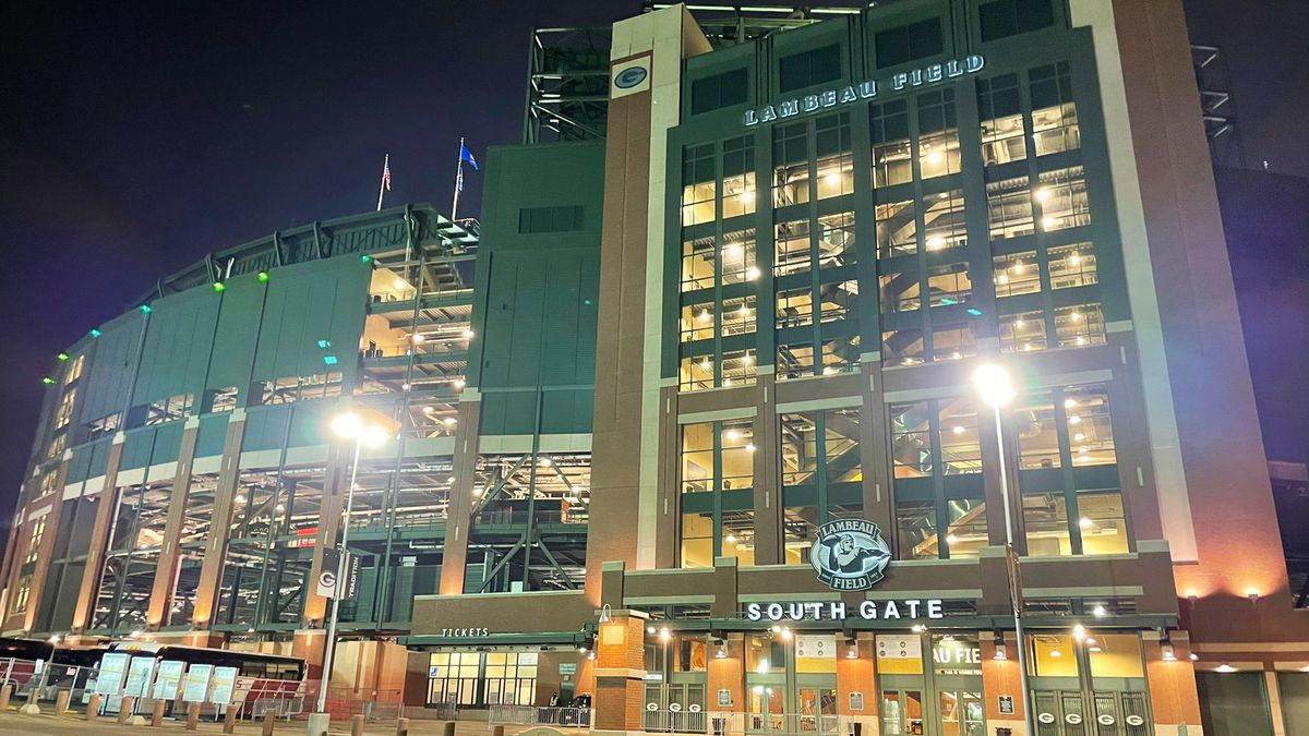 Lambeau Field lit up ahead of the Saturday night game between the Packers and the Panthers on...