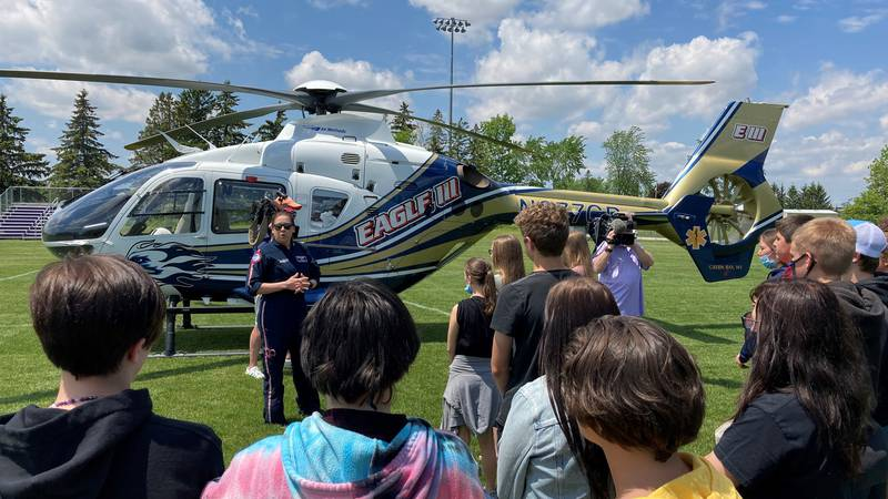 Denmark Middle School students learn about Eagle 3 and its life saving missions, which the...