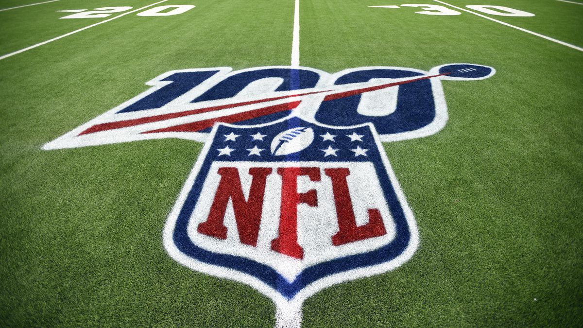 The 100th anniversary logo is shown above the NFL shield before an NFL wild-card playoff football game between the Buffalo Bills and Houston Texans Saturday, Jan. 4, 2020, in Houston.