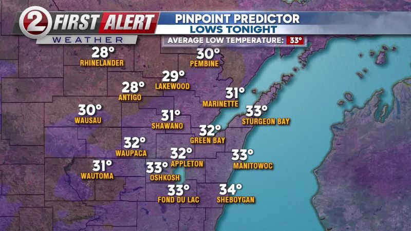 First Alert Forecast: Various types of precipitation tonight, another cooler day tomorrow