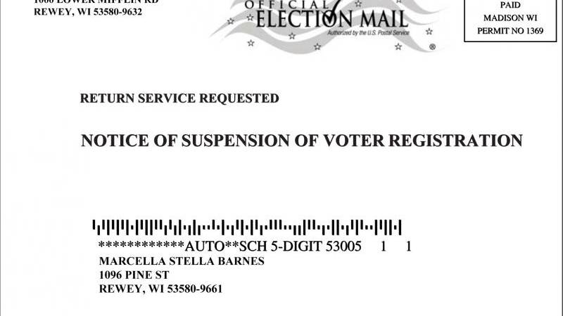 Notice of Suspension of Voter Registration postcard (Wisconsin Elections Commission image)