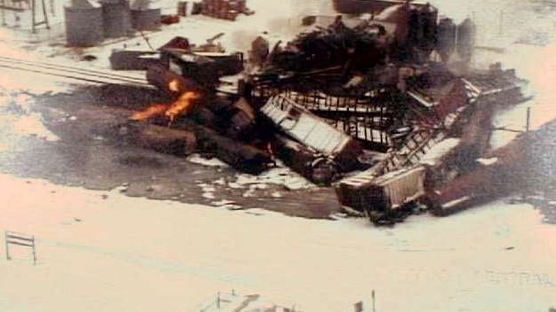 An aerial shot of the train derailment in Weyauwega in March, 1996