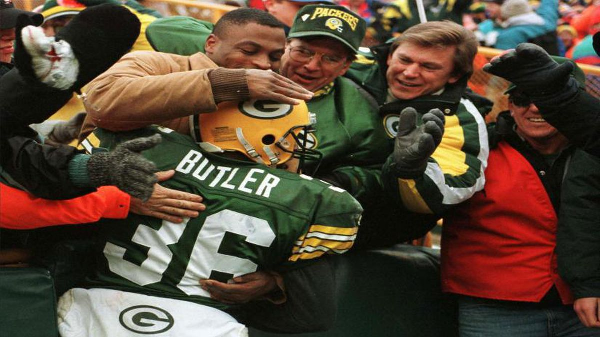 FILE: LeRoy Butler jumps into the crowd following an interception in 1995. (AP Photo/Dan Currier)