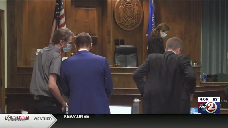 Jacob Cayer (far left) appears at his trial on August 10, 2020, for the 2016 murders of Sabrina...
