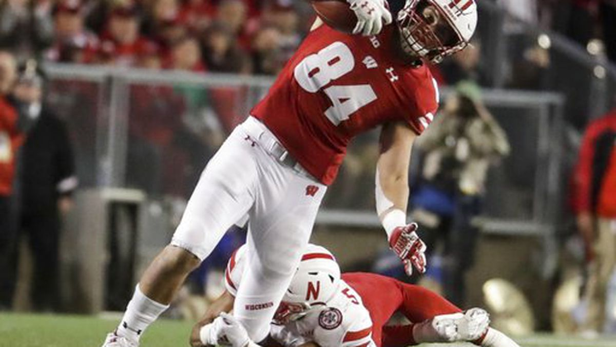 Wisconsin's Zander Neuville gets away from Nebraska's Jordan Paup during the second half of an NCAA college football game Saturday, Oct. 6, 2018, in Madison, Wis. (AP Photo/Morry Gash)