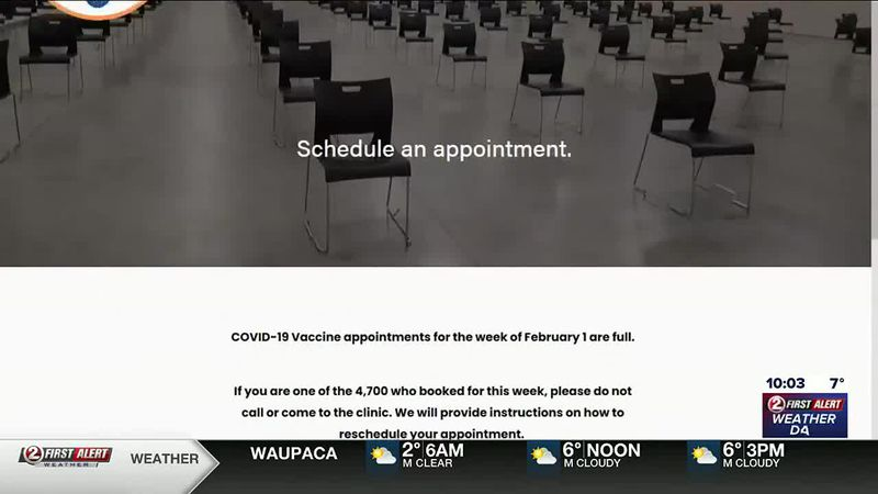 Website for Fox Cities Exhibition Center COVID-19 vaccination clinic