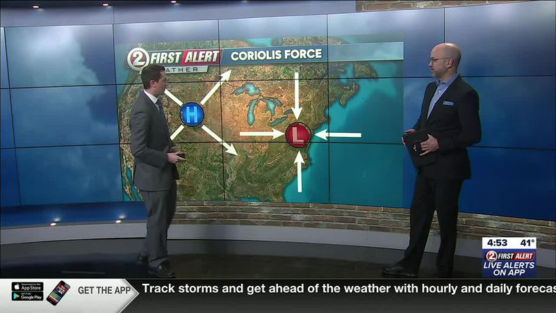First Alert Weather meteorologist David Ernst (left) discusses the motion of high and low...