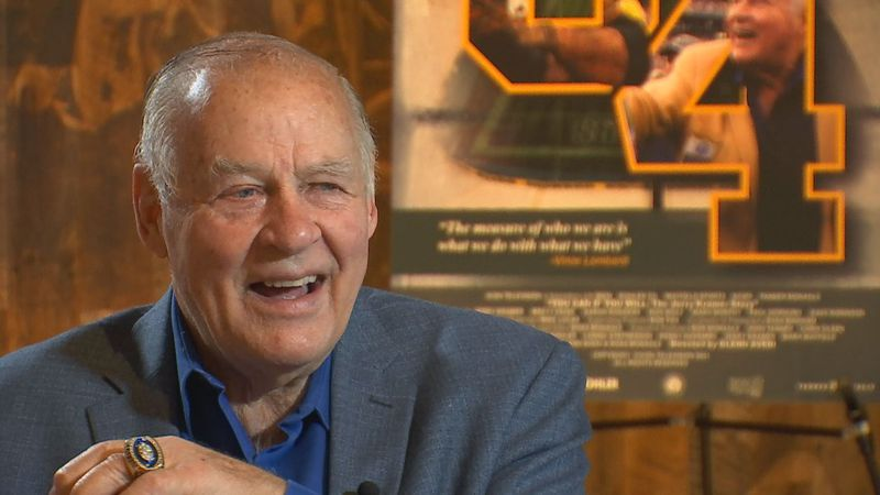 Kramer discussing the film inside the Green Bay Packers Hall of Fame.