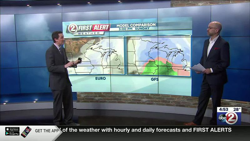 First Alert Weather meteorologist David Ernst (left) discusses weather predictions for the NFC...