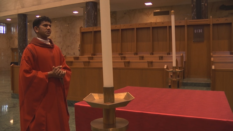 Norbertine priest Father Christian Raj stays connected to family members battling the coronavirus