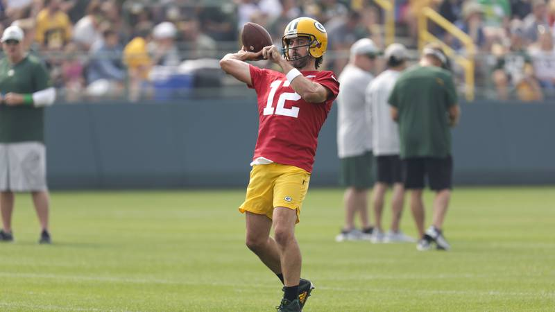 Green Bay Packers' quarterback Aaron Rodgers during NFL football training camp Saturday, July...