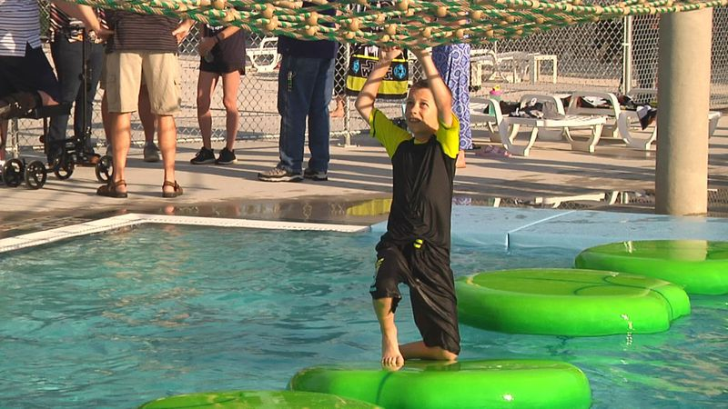 From the kids splash pad, to shooting hoops, a must try is the drop water slide.