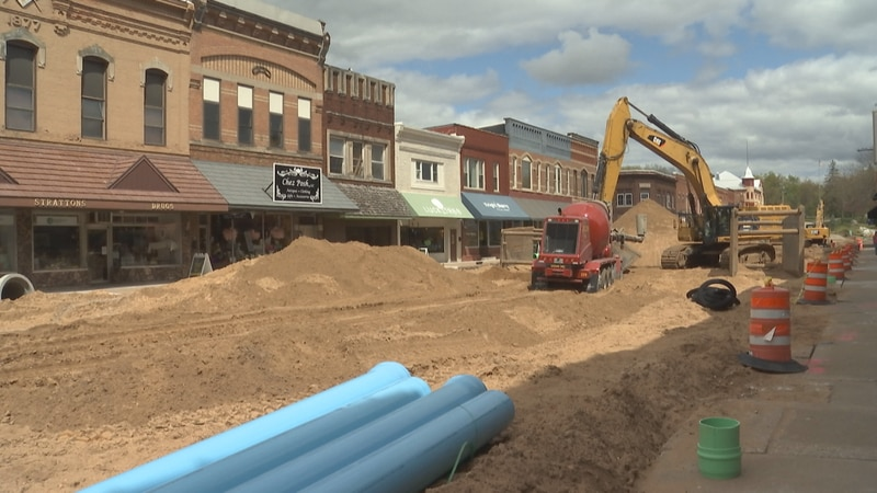 Work being done on Waupaca's Main Street.