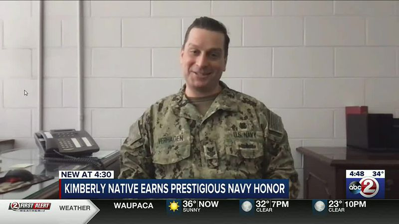 Petty Officer 1st Class Todd Verhagen received a military award that only goes to one member of...