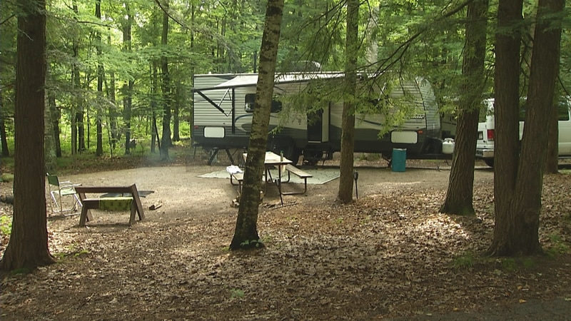 One of many campsites filled at Potawatomi State Park