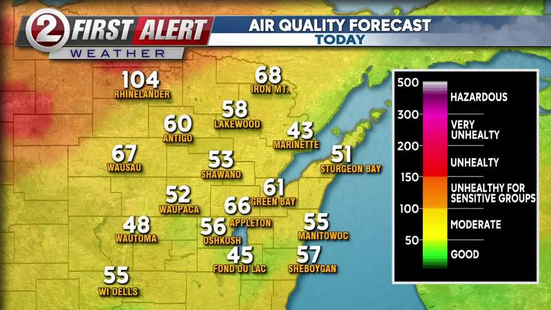 Air quality forecast due to wildfire smoke from Canada