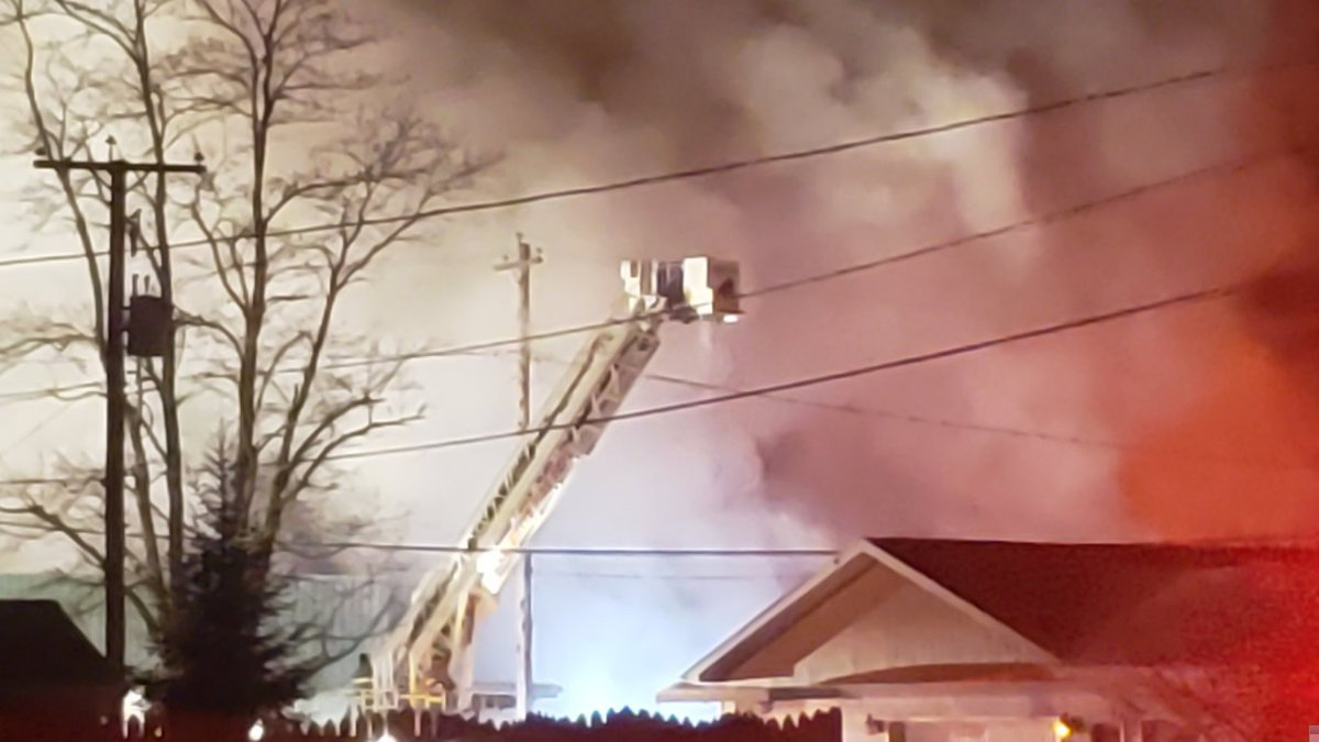 Ladder truck at the Crivitz Lumber fire on January 29, 2019 (WBAY photo)
