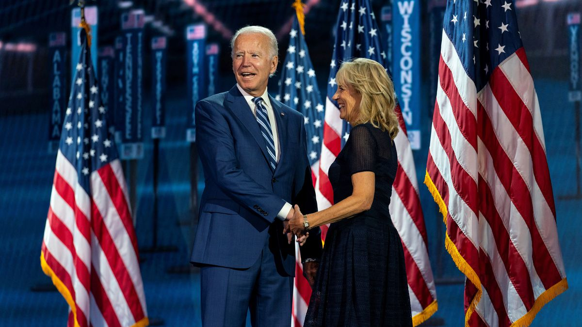 Democratic presidential candidate former Vice President Joe Biden, and his wife Jill Biden, take the stage after Democratic vice presidential candidate Sen. Kamala Harris, D-Calif., spoke during the third day of the Democratic National Convention, Wednesday, Aug. 19, 2020, at the Chase Center in Wilmington, Del.