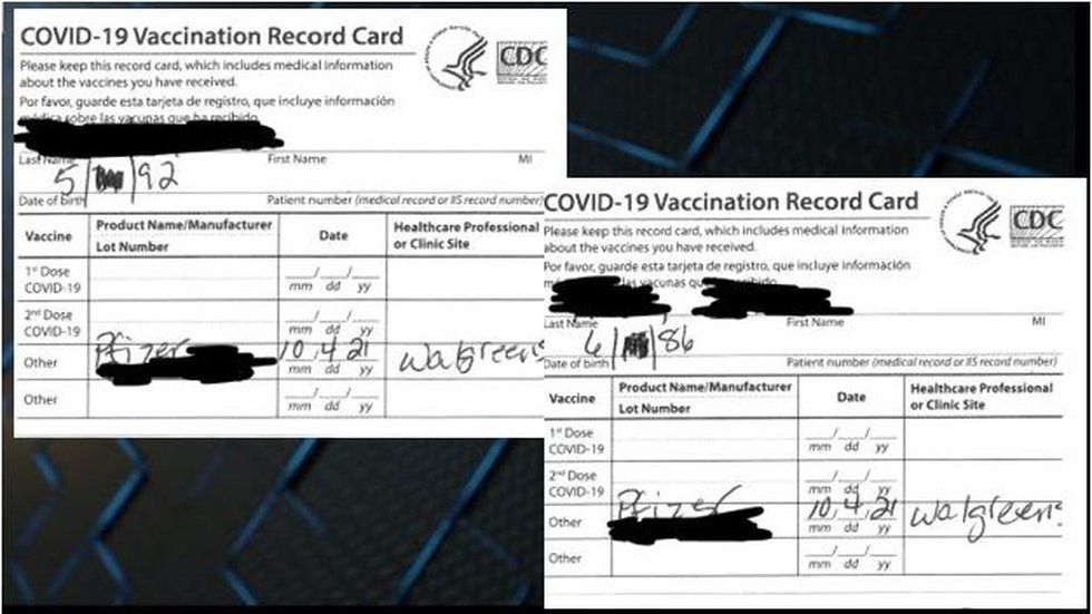 Parents' vaccine cards