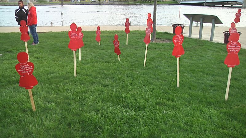 A display represents native women who have gone missing or have been murdered.