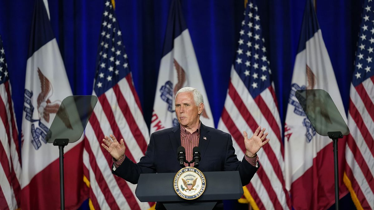 Vice President Mike Pence speaks during the Farmers & Ranchers for Trump Coalitions launch, Thursday, Aug. 13, 2020, in Des Moines, Iowa.