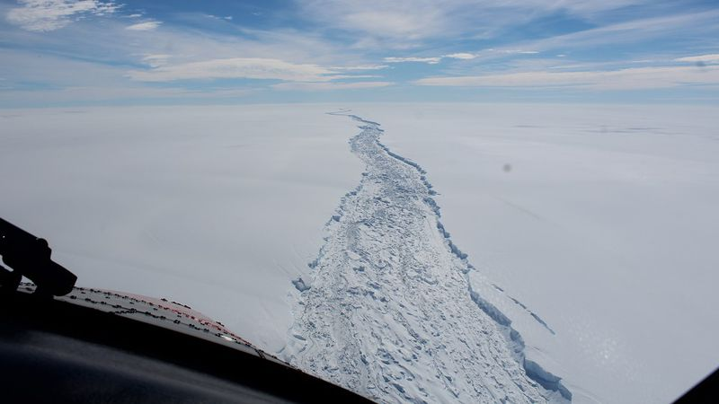 This is a Feb. 2017 image of the Larsen C ice shelf in Antarctica made available by the...