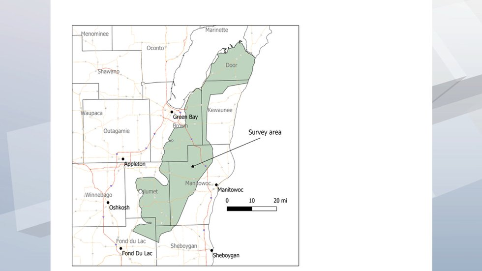 A map of the airborne study of bedrock in Northeast Wisconsin.