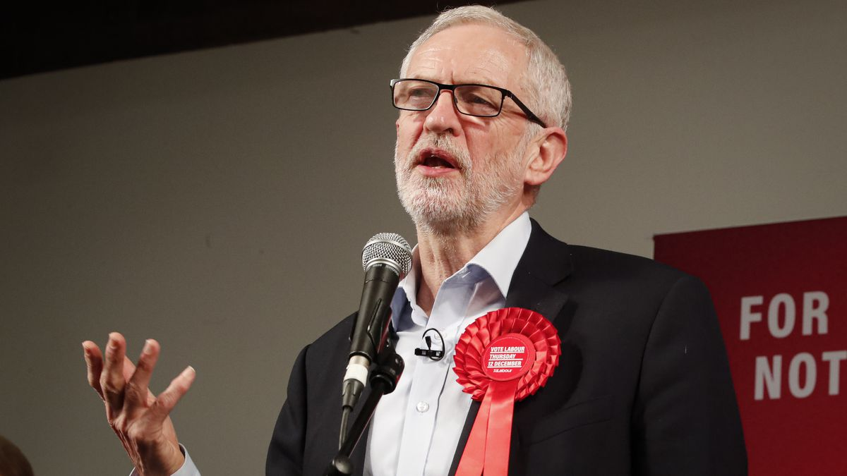 FILE - In this Wednesday, Dec. 11, 2019 file photo, Labour Leader Jeremy Corbyn addresses an...
