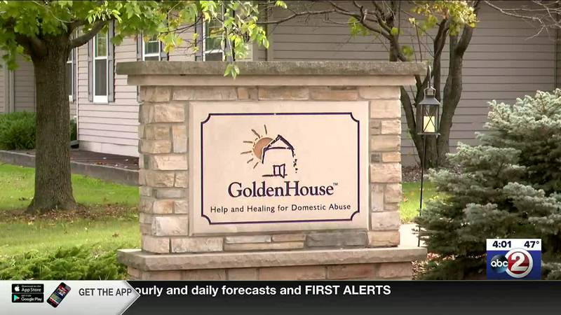 Sign outside Golden House domestic abuse shelter in Green Bay