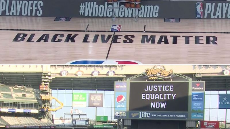 Social justice messages on the NBA Playoffs court in Orlando and Miller Park in Milwaukee