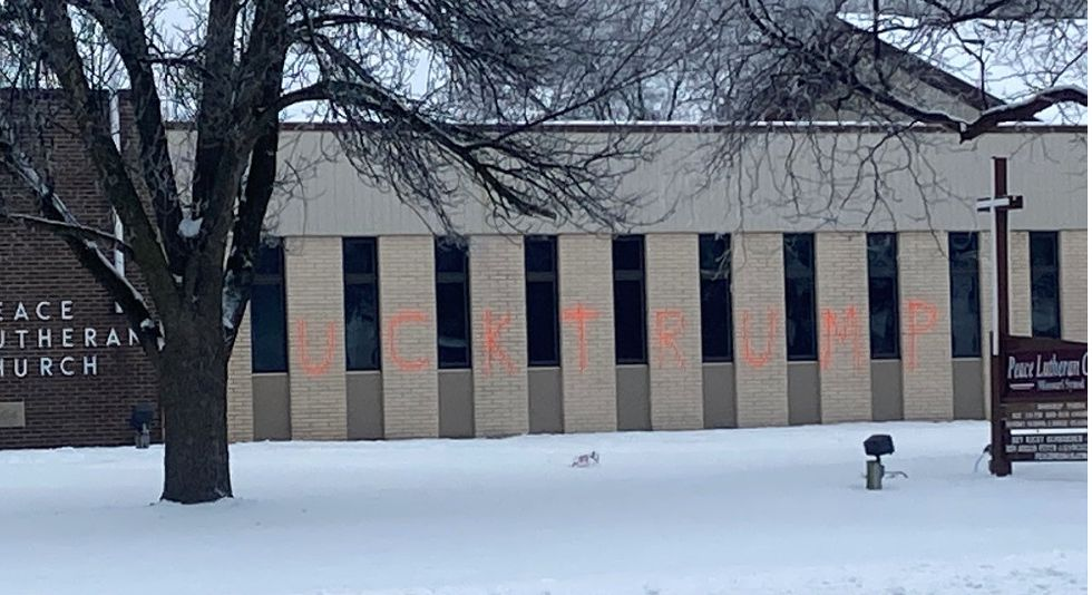 Peace Lutheran Church in Neenah is tagged with anti-Trump graffiti. Jan. 7, 2021.
