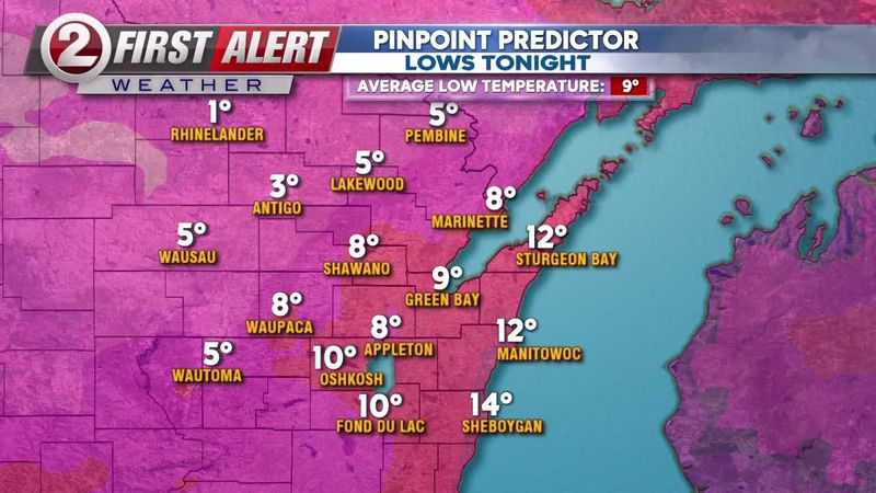 First Alert Weather Pinpoint Predictor overnight lows