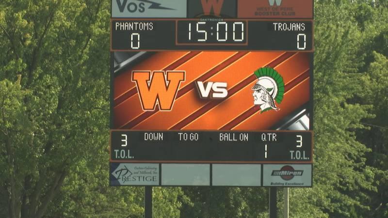 West De Pere High School's new scoreboard for its football field.