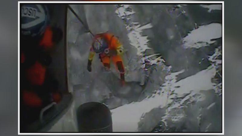 The U.S. Coast Guard helped rescue 66 fishermen who were stranded on an ice floe on Sturgeon Bay.