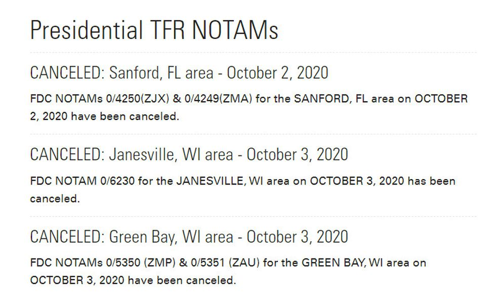 Presidential flight restrictions canceled for Oct. 3.
