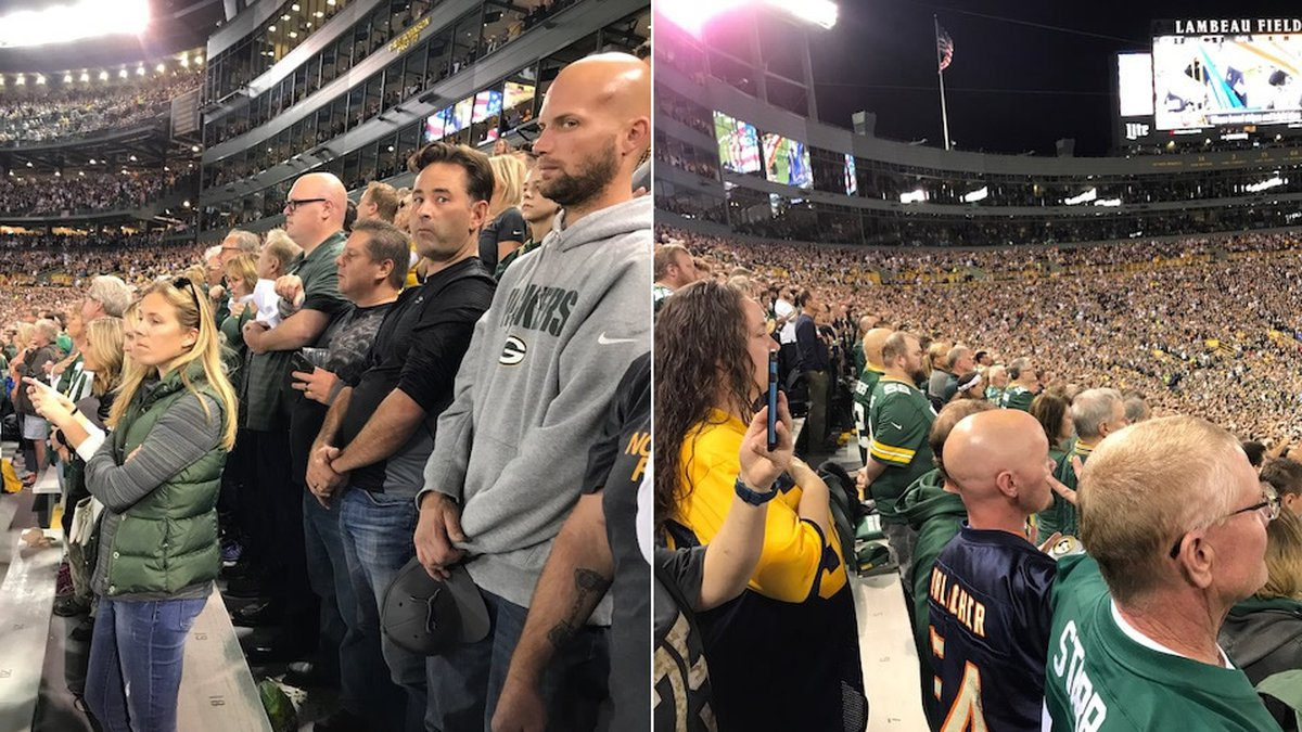 Packers and Bears fans stand for the national anthem at Lambeau Field on Sept. 28, 2017 (Photo:...