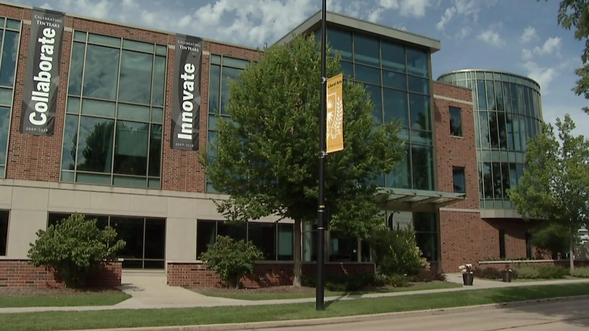 The state-of-the-art Mulva Library at St. Norbert College in De Pere marks its 10th anniversary in September, 2019 (WBAY photo)