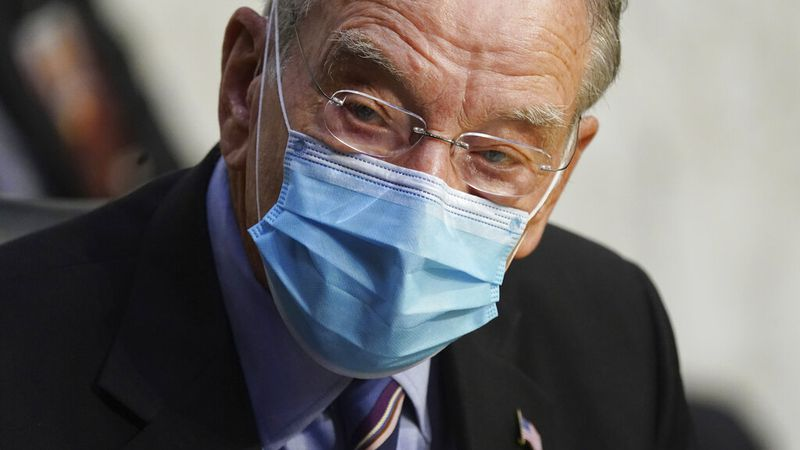In this Oct. 12, 2020 file photo, Sen. Charles Grassley, R-Iowa, listens during a confirmation...