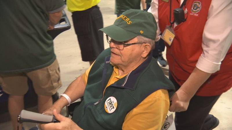 80-year-old Michael Pfender attended his first Packers home game at Lambeau Field on Monday...