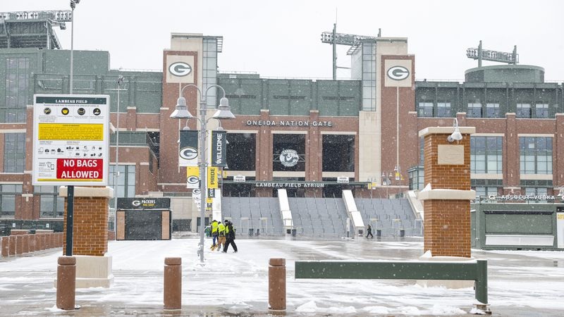 A general view outside Lambeau Field before a NFC Championship playoff football game between...