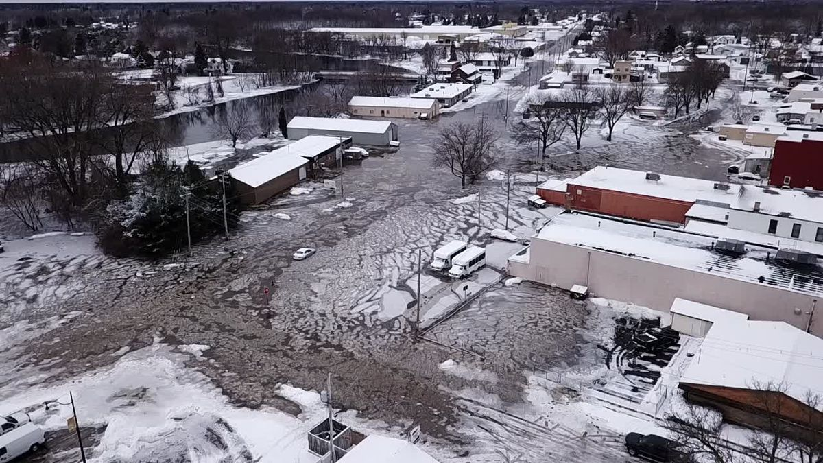 First Alert Drone captures flooding in Oconto. Dec. 31, 2019. (WBAY)