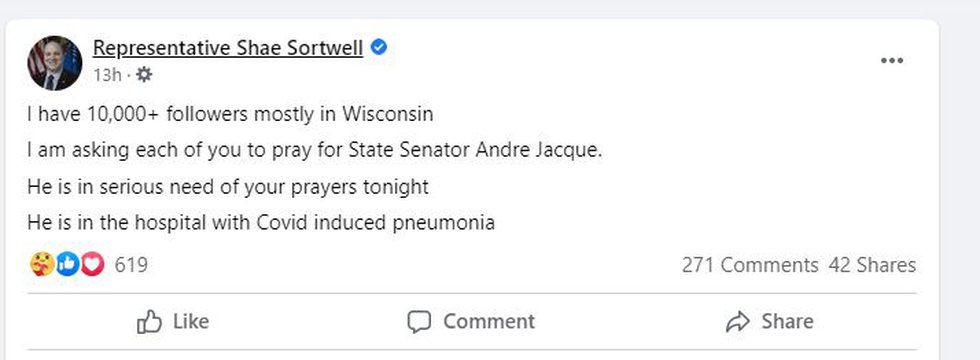 Wisconsin Representative Shae Sortwell posted on Facebook about Senator Andre Jacque being in...