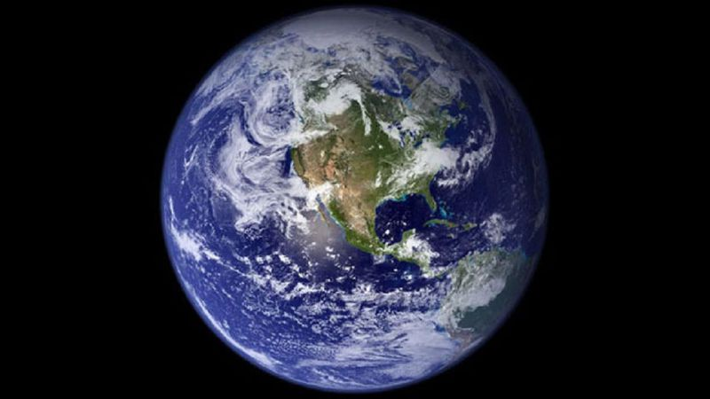 An image of Earth focused on the North American continent