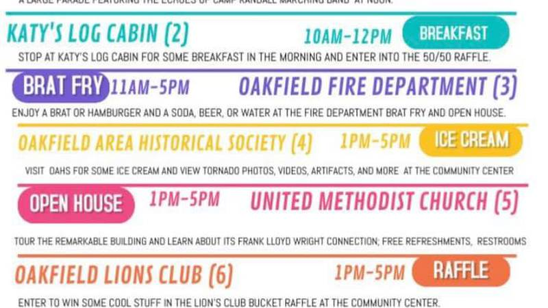 The Village of Oakfield has a full day of events planned as it prepares to commemorate the 25th...