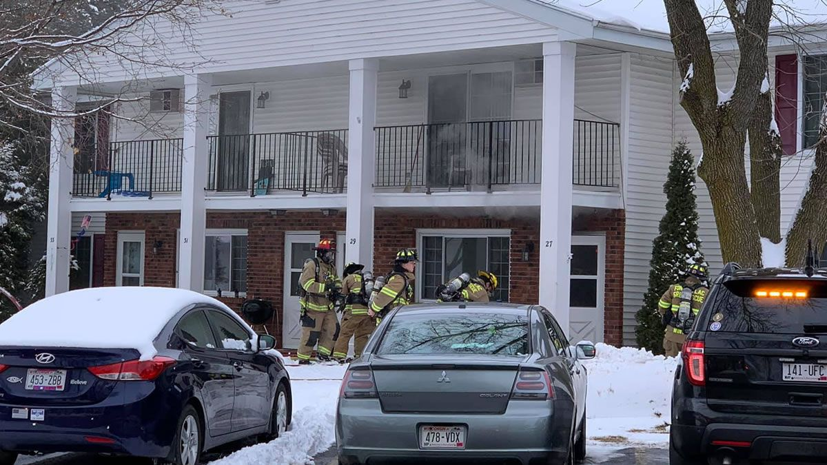 Fond du Lac firefighters put out a clothes dryer fire that extended into the wall of an 8-unit apartment building on January 13, 2020 (Photo: Fond du Lac Fire/Rescue)