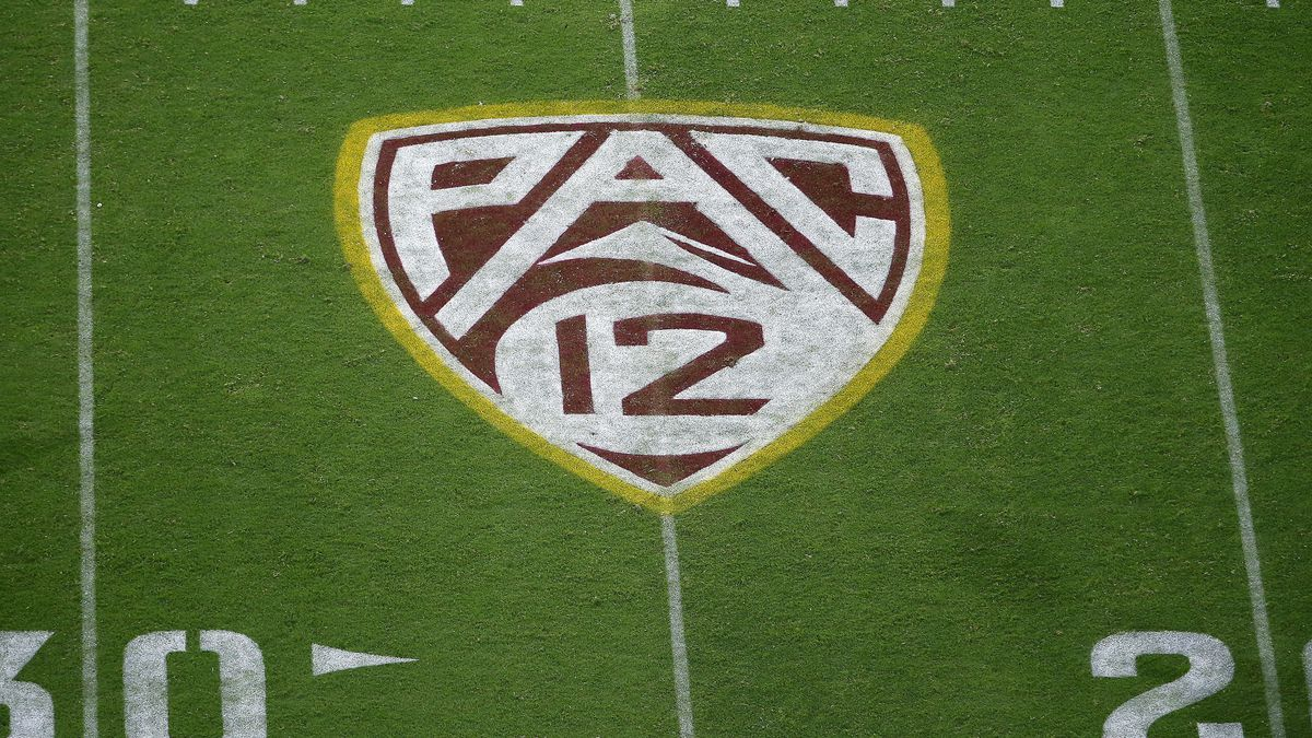 FILE - This Aug. 29, 2019, file photo shows the PAC-12 logo at Sun Devil Stadium during the second half of an NCAA college football game between Arizona State and Kent State in Tempe, Ariz.