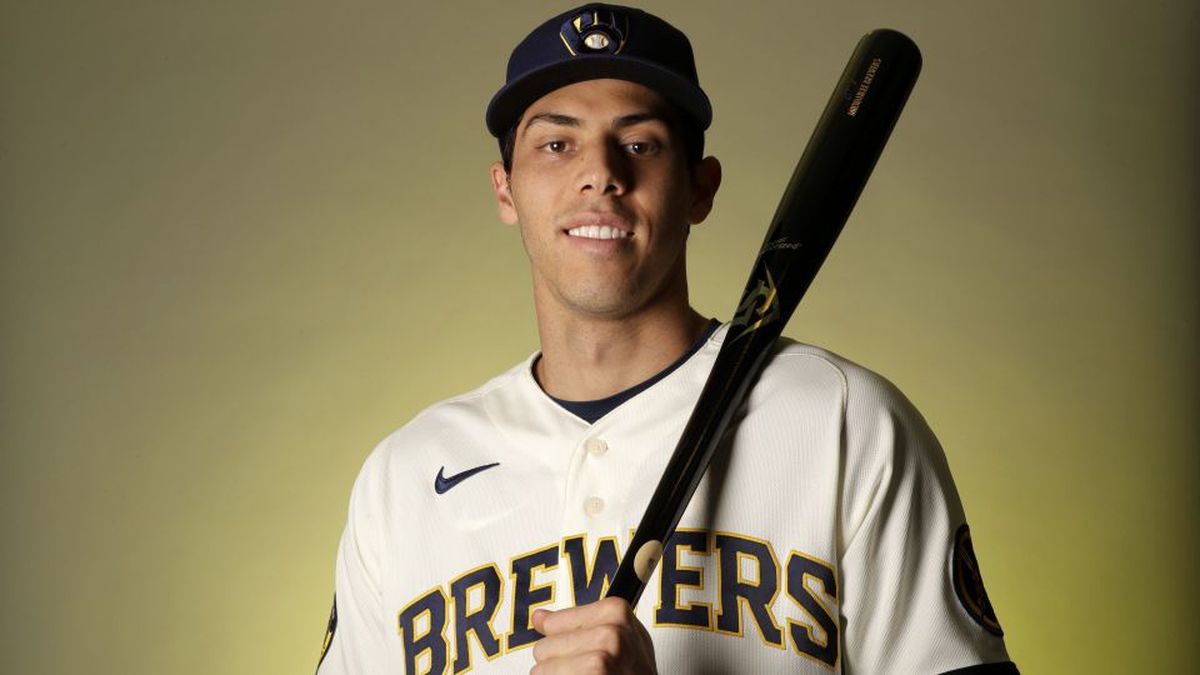 Milwaukee Brewers right fielder Christian Yelich poses during spring training baseball photo day Wednesday, Feb. 19, 2020, in Phoenix. (AP Photo/Gregory Bull)