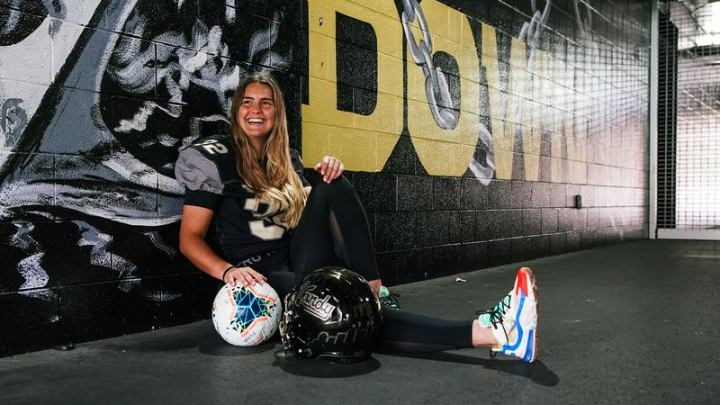 Sarah Fuller, Vanderbilt's new placekicker, could become the first female athlete to take the...