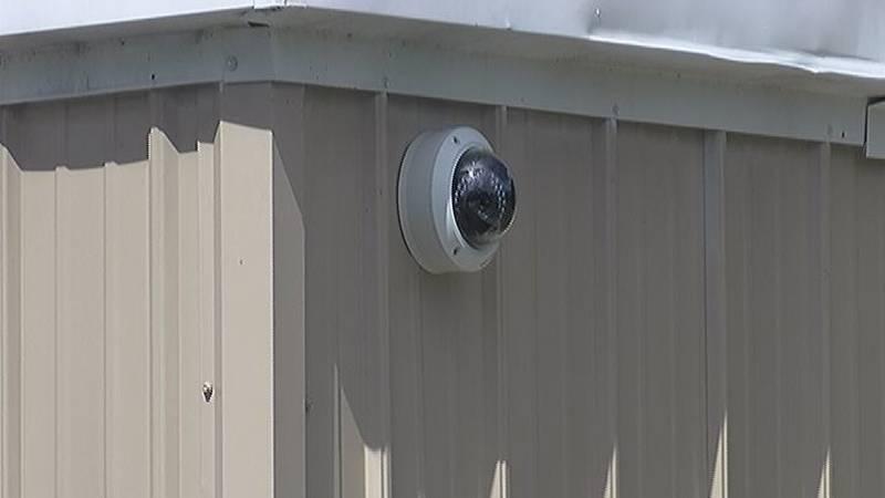 Surveillance camera on school building