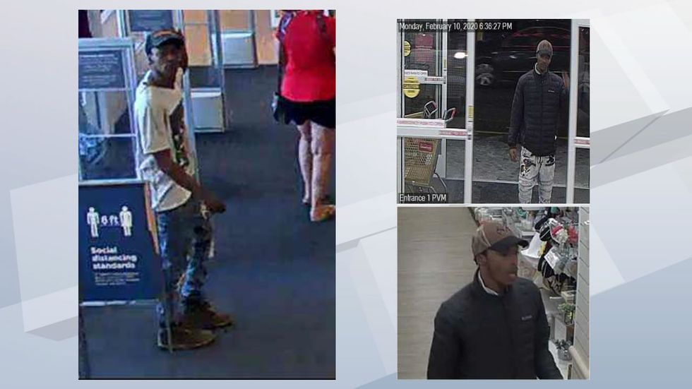 A man identified as Suspect #11 is seen on the right. A man believed to also be Suspect #11 is seen in clearer pictures from a Home Goods store in Oshkosh where a counterfeit $100 bill was used